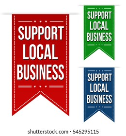 Support local business banner design set over a white background, vector illustration