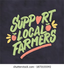 Support local farmers. Vector chalkboard lettering sign.