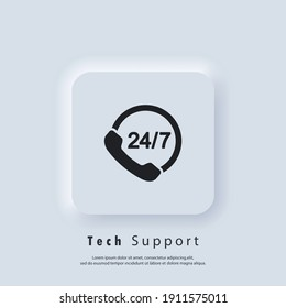 Support logo. Call center support 24 7. Service 24 7 icon. Vector. UI icon. Neumorphic UI UX white user interface web button. Neumorphism