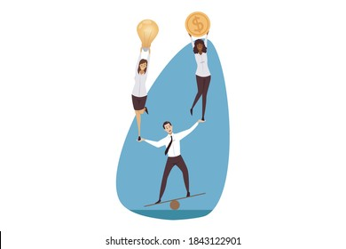 Support, management, leadership, teamwork, business concept. Coworking and team building illustration. Businessman leader balancing holding women partners managers colleagues with light bulb and coin.