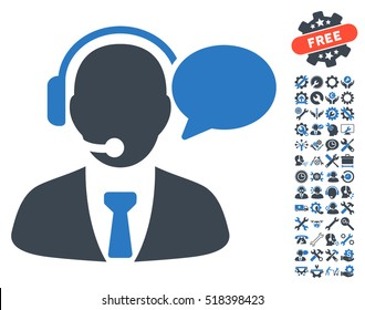 Support Manager Message icon with bonus tools pictograph collection. Vector illustration style is flat iconic smooth blue symbols on white background.