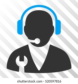 Support Manager vector pictogram. Illustration style is flat iconic bicolor blue and gray symbol on a hatched transparent background.