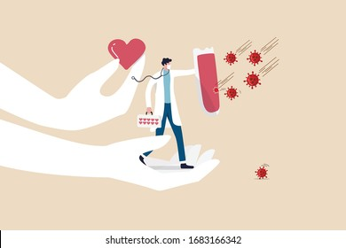 Support medical staffs, doctor, physician with love to fight COVID-19 Coronavirus outbreak spreading concept, doctor hero full of support and love holding shield to protect COVID-19 virus pathogen.