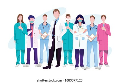 Support Medical Staffs, Doctor, Physician with love to fight COVID-19 Coronavirus outbreak spreading concept,