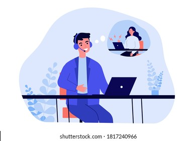 Support operator talking to unhappy client. Man in headset, upset woman with laptop in though bubble flat vector illustration. Customer service concept for banner, website design or landing web page