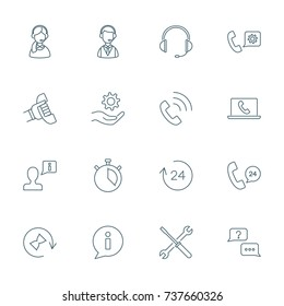 Support service, call center icons set