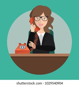 Support service concept. Technical support assistant in office. Flat vector illustration.