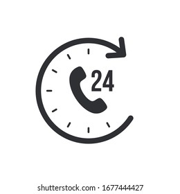 Support and service for customer around the clock or 24 hours a day icon isolated on white background. Call center vector icon