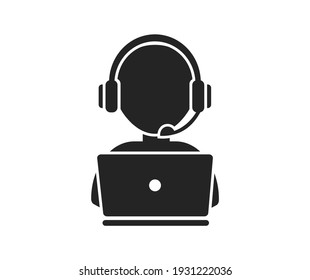 Support service with headphones. Hotline customer service. Call center operator. Vector Illustration.