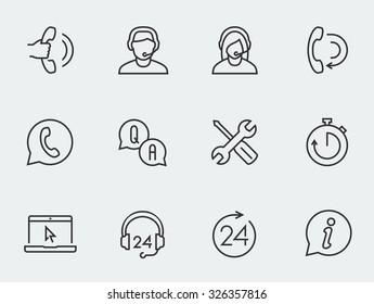 Support service vector icon set, thin line design