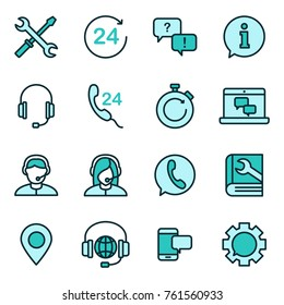 Support service vector icon. Support service and telemarketing vector icon set
