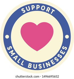 Support Small Local Business Circle Badge Stamp Vector with Pink Heart and Blue and Beige Circles