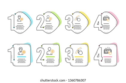 Support, Swipe up and User idea icons simple set. Technical documentation sign. Edit profile, Touch down, Light bulb. Manual. People set. Infographic timeline. Line support icon. 4 options or steps