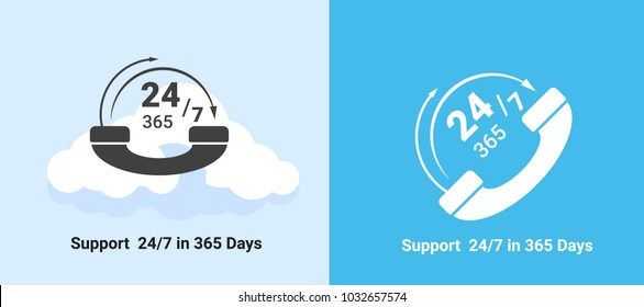 Support System. Online Support, Customer Service. call center. 24 hours / 7 days in 365 days. Flat vector illustration.
