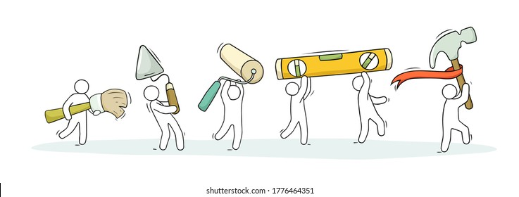 Support team. Doodle cartoon little men and tools. Hand drawn vector illustration for business design.