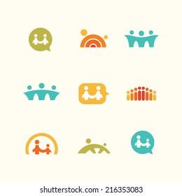 Support teamwork logo icons set