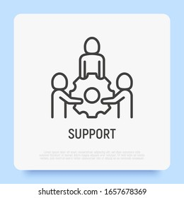 Support thin line icon. Group of people holding big cogwheel by hands. Teamwork, partnership, business cooperation. Modern vector illustration.