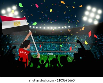 supporter hold Egypt flag among silhouette audience in soccer stadium to celebrate or cheer football game.concept for football result template in vector illustration.