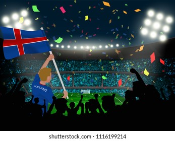 supporter hold Iceland flag among silhouette of crowd audience in soccer stadium with confetti to celebrate or cheer football game.Concept design for football result template in vector illustration.