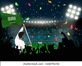 supporter hold Saudi Arabia flag among silhouette audience in soccer stadium in vector illustration. concept for football result template use in web or mobile phone application