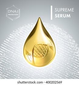 Supreme collagen oil drop essence with DNA helix. Premium shining serum droplet. Vector illustration