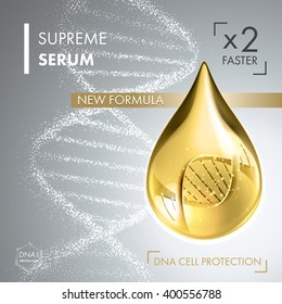 Supreme collagen oil drop essence with DNA helix. Premium shining serum droplet. Vector illustration of collagen drop. Cosmetics solution