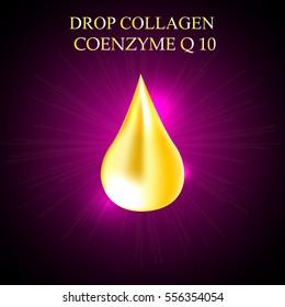 Supreme collagen oil drop essence. Premium gold shining serum droplet. Co enzyme  Vector illustration