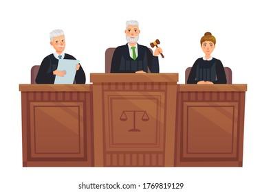 Supreme court tribune. Judges in session, judge holding hammer and justice cartoon vector illustration. Set judge, supreme judgement, judicial process