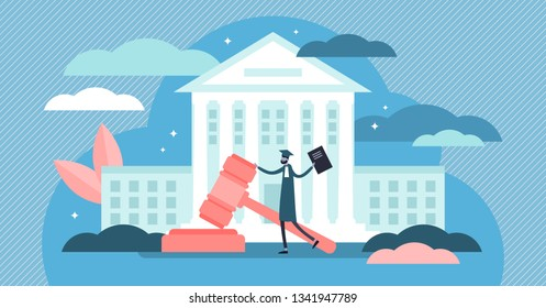 Supreme court vector illustration. Flat tiny judge building persons concept. Power, justice and federal authority symbol. Lawyer profession knowledge study and graduation. Crime courthouse advocate.