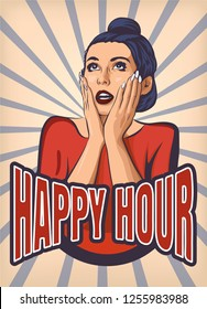 Suprised pin up girl with happy hour lettering