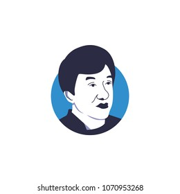 Surabaya, 15 April 2018, Funny kungfu movie comedian, Jackie Chan vector illustration who known as humble person