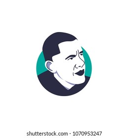 Surabaya, 15 April 2018, President number 44th of United States of America, Barrack Obama face vector illustration with simple circle tosca background