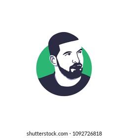 Surabaya, 17 May 2018, singer and rapper, Drake vector illustration face