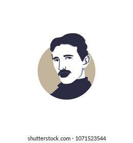 Surabaya, 18 April 2018, Greatest scientist ever, invented electricity and many other patents, Nikola Tesla vector illustration face style