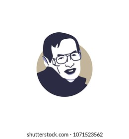 Surabaya, 18 April 2018, Scientist who publish the Theory of Everything, Stephen Hawking in vector illustration style