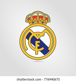 Surabaya, 18 December 2017: Vector Template illustration of Real Madrid F.C. logo