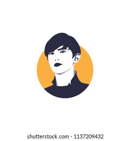 Surabaya, 18 July 2018, Chanyeol face vector illustration, rapper singer from Kpop band called Exo