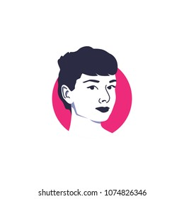 Surabaya, 20 April 2018, The most beautiful woman in the world, Audrey Hepburn in vector illustration face style with simple pink circle background behind