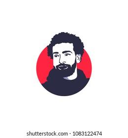 Surabaya, 4 May 2018, awesome football player, Mohamed Salah vector illustration face