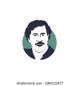 Surabaya, 4 May 2018, Cocaine king, Pablo Escobar in vector illustration isolated style