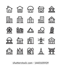 Surabaya, Indonesia - 6 May 2019.  Building and landmark icon set with famous iconic landmark such Leaning Pisa tower, Eiffel Tower, Egyptian Pyramids and etc.