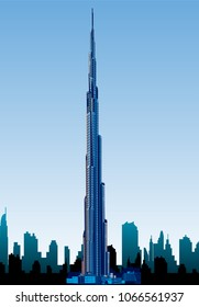 Surabaya Indonesia, Apr 2018: Downtown City skyline silhouette background vector illustration Dubai cityscape isolated Burj Khalifa, known skyscraper in Dubai, United Arab Emirates