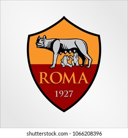 Surabaya Indonesia, Apr 2018: AS Roma logo vector template Football Club professional Italian football club based in Rome Italy