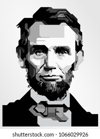 Surabaya Indonesia, Apr 2018: vector isolated stylized illustration face head portrait Abraham Lincoln, American statesman and lawyer sixteenth President United States America