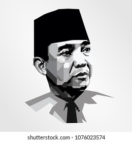 Surabaya Indonesia, Apr 2018: vector isolated portrait stylized illustration Sukarno first President Indonesia Sukarno leader country's struggle Independence