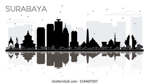 Surabaya Indonesia City skyline black and white silhouette with Reflections. Vector illustration. Simple flat concept for tourism presentation, placard or web site. Surabaya Cityscape with landmarks