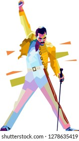 Surabaya indonesia, december 02, 2018 :potrait freddie mercury iconic pose on color pop art style isolated