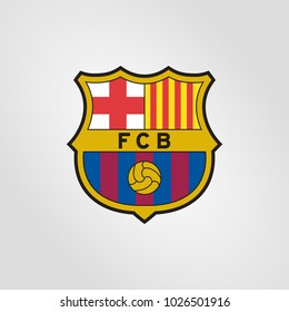 Surabaya Indonesia, Feb 2018:  Barcelona fc logo vector template professional football club based in Barcelona, Catalonia, Spain