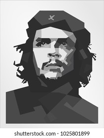 Surabaya Indonesia, Feb 2018: Ernesto Che Guevara vector isolated portrait stylized illustration Vector illustration isolated on white background.