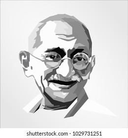 Surabaya Indonesia, Feb 2018: Mahatma Gandhi face head vector template illustration Indian activist who was the leader of the Indian independence movement against British rule